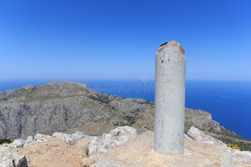 Mountain Puig de Galatzo summit in Majorca Tramuntana with Mediterranean Sea. Spain stock images