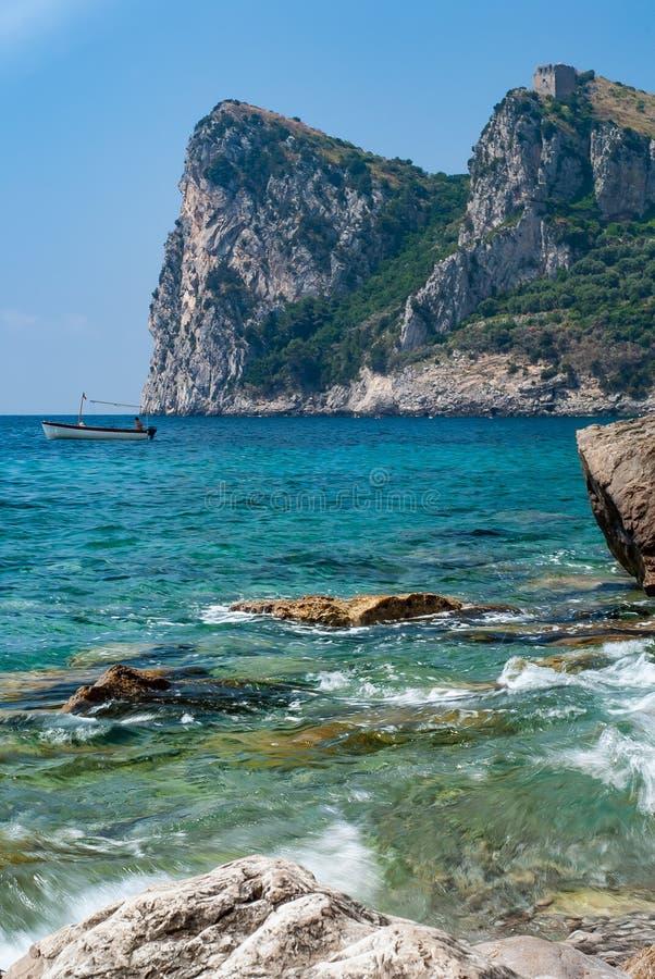 Mountain Punta Campanella, near Sorrento. Hilly landscape called Punta Campanella, near Sorrento, taken from Nerano beach stock photography