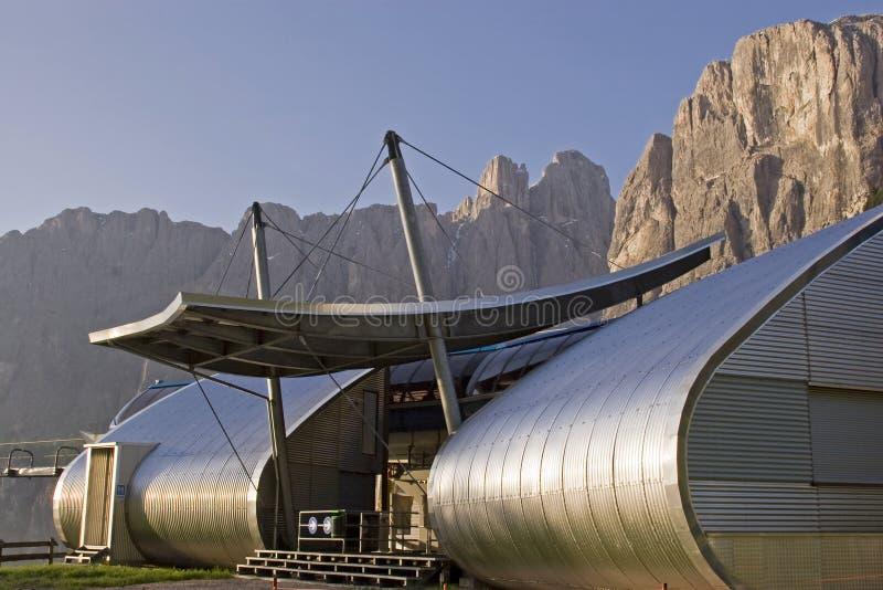 Mountain railway station in the Dolomites stock photo