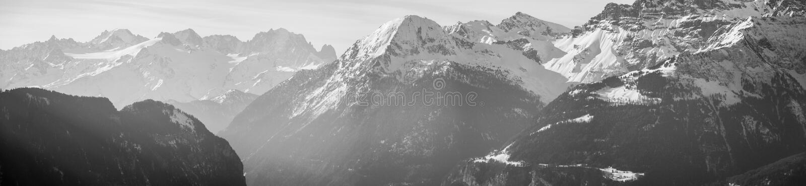 Mountain Range. Alpine scenery with mountain range in winter royalty free stock images