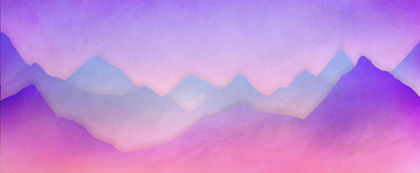 Mountain range background illustration in soft purple pink and blue with white hazy mist in pastel colors stock illustration