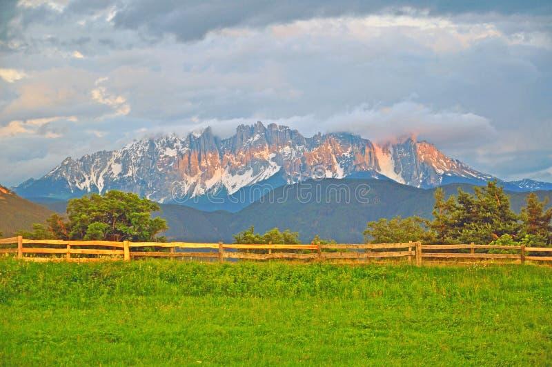 Mountain Range In Dolomites On Sunset Stock Photo