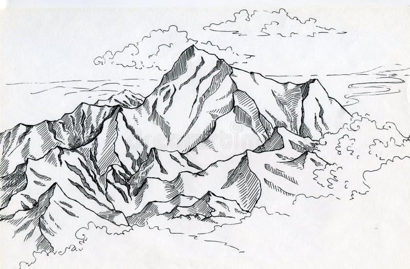 Mountain range drawin in ink vector illustration