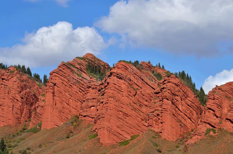 Mountain range of Jeti Oguz Seven bulls, Kyrgyzstan,tourist trademark of Issyk-Kul lake region,Central Asia stock image