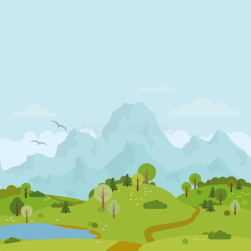 Mountain range landscape with hills and lake vector illustration stock illustration