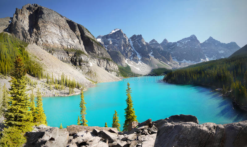 Download Canada, Mountains Landscape, Moraine Lake Stock Photo - Image of outdoor, forest: 83359168