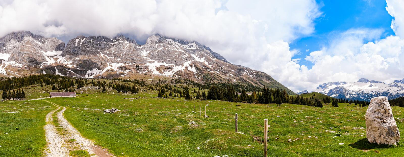 Mountain range landscape. Plateau of Montasio, Italy. Mountain range landscape. Plateau of Montasio, Italian Alps royalty free stock photos
