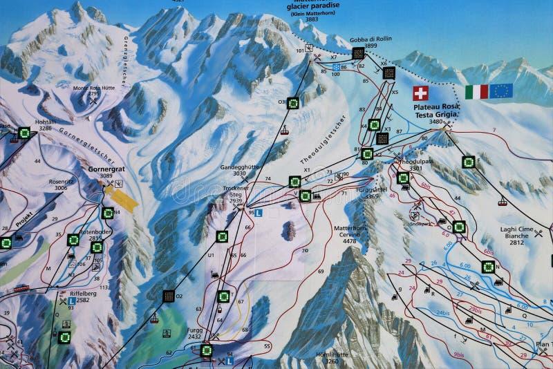 Mountain Range, Map, Bird's Eye View, Winter stock photography