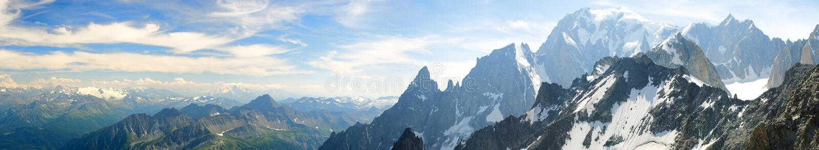 Mountain range of the Mont Blanc. Panoramic landscape of mountain range of the Mont Blanc royalty free stock image