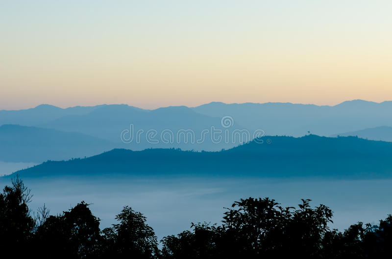 The mountain range in the morning before the sunrise at Mae Moei National Park stock images