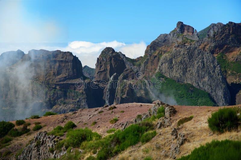 Mountain range on Pico do Arieiro against blue sky. Madeira royalty free stock photography