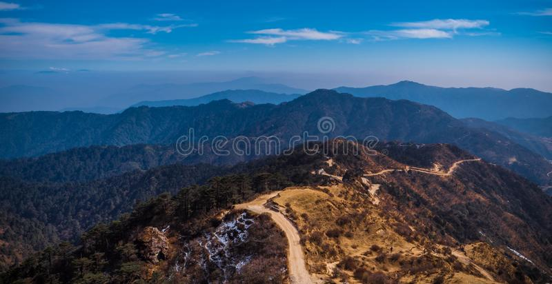 Mountain range  sunrise at  sandakphu point ,india stock photos