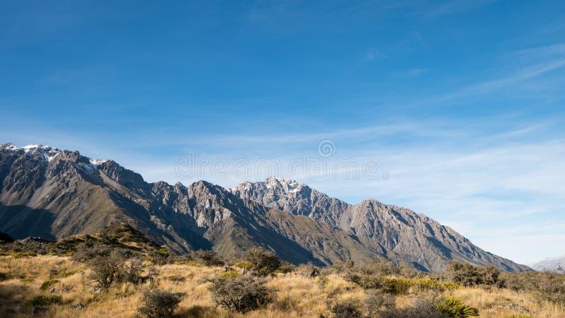 Mountain Range at Tasman Valley Walk Track, Aoraki, New Zealand royalty free stock photos