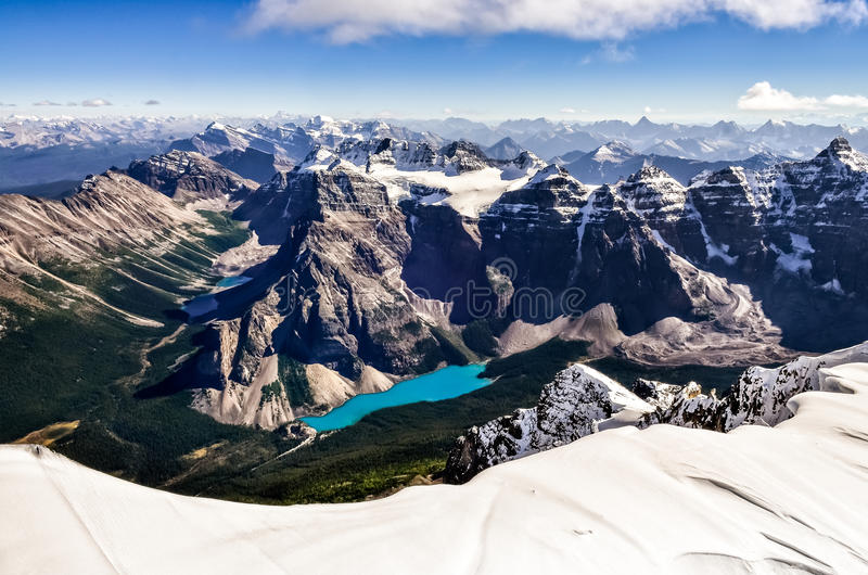 Mountain range view from Mt Temple with Moraine lake stock photography
