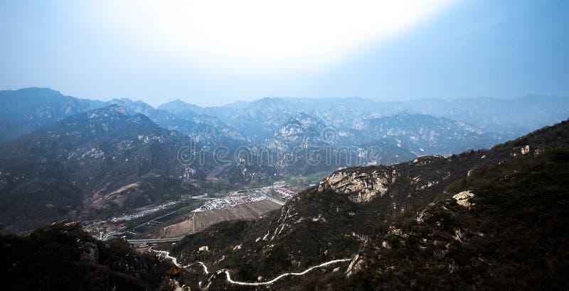 Mountain range and village stock image