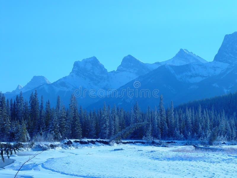 Mountain range in winter stock photography