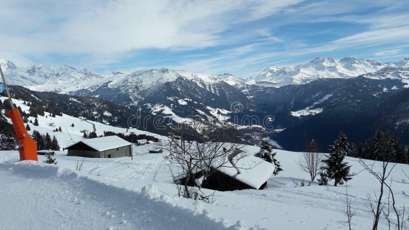Mountain Range, Winter, Snow, Mountainous Landforms stock photo