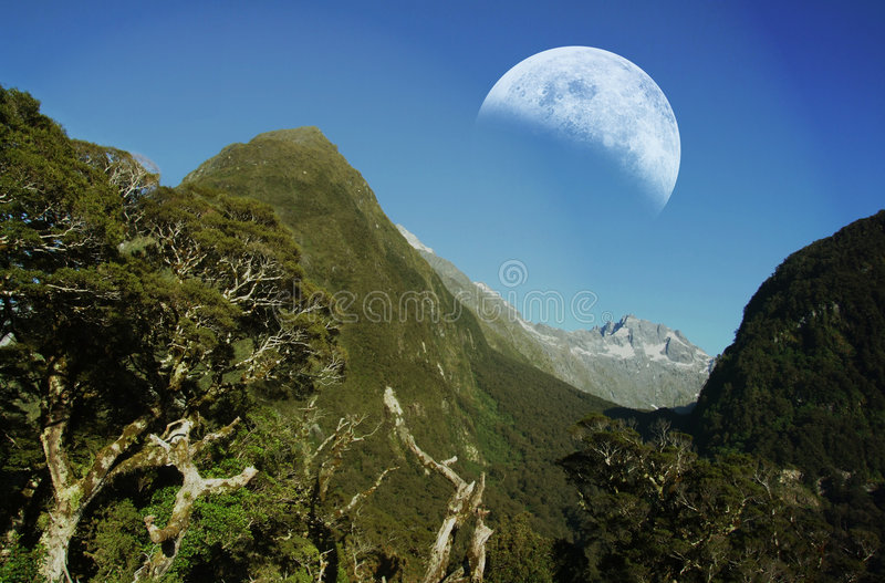 Mountain Ranges With Moon Royalty Free Stock Image