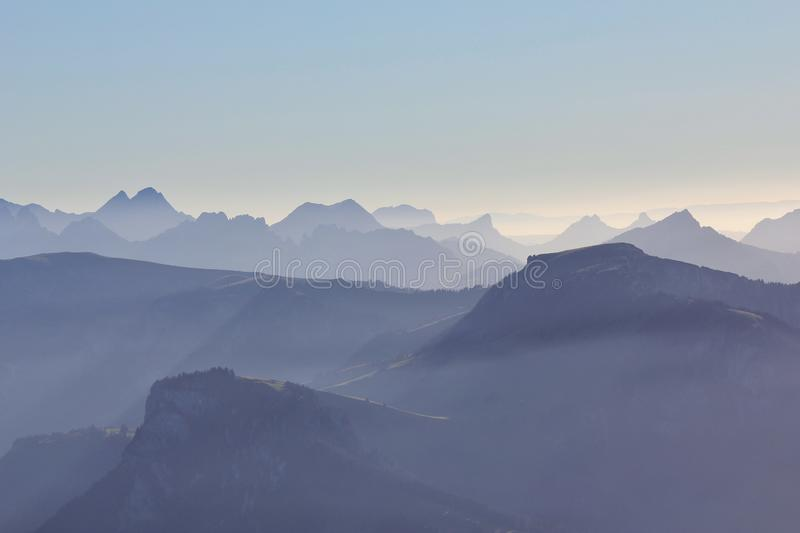 Mountain ranges seen from Mount Niesen. Mountain ranges seen from Mount Niesen, Bernese Oberland. Switzerland stock images