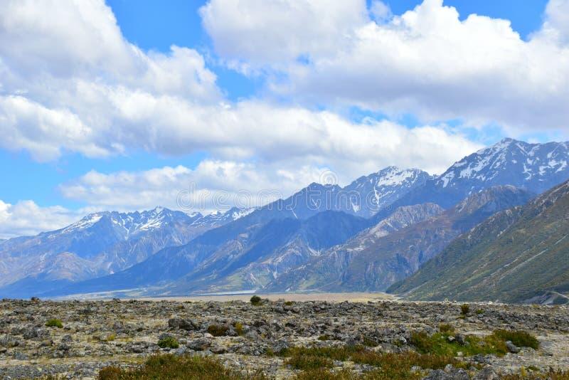 Mountain ranges by Tasman Glacier stock image