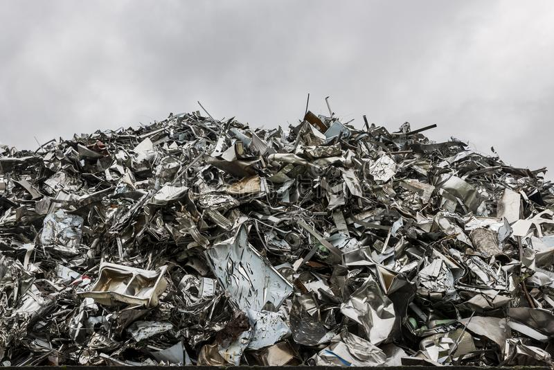 Mountain of recycling steel royalty free stock photos