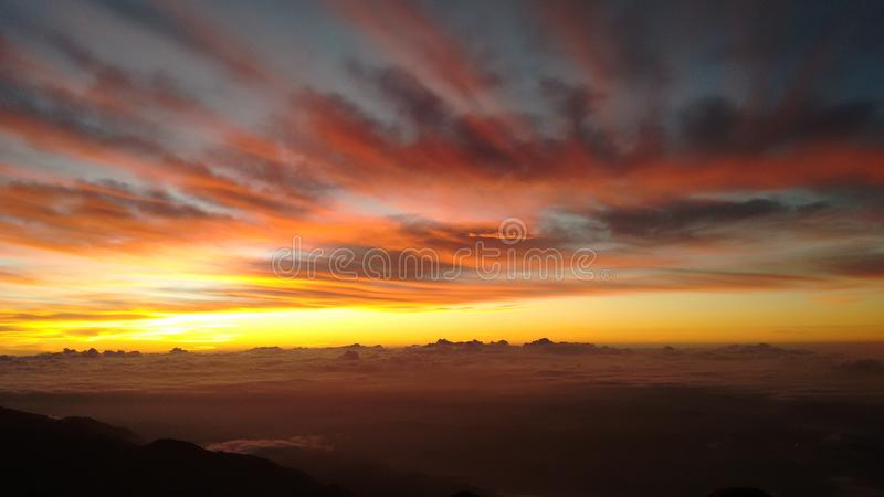 The mountain, red morning at the naiguata peak, Caracas. royalty free stock photo