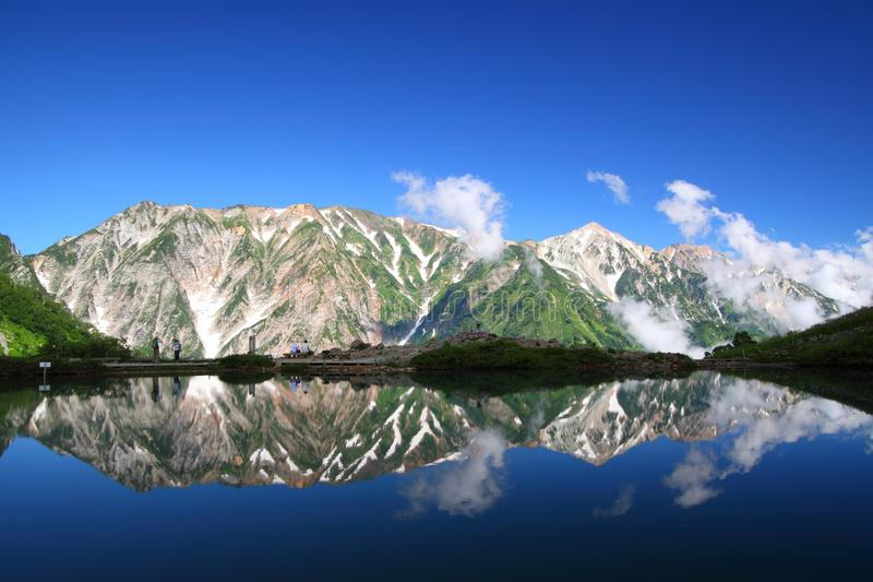 Mountain reflection in pond stock photos