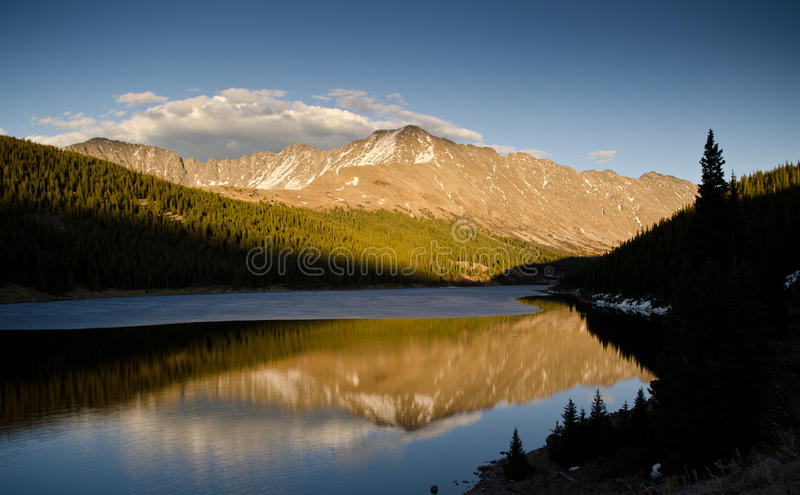 Mountain reflection during sunset stock image