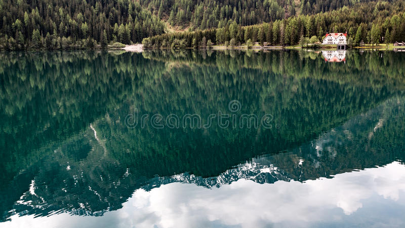 Mountain reflection on water royalty free stock photo
