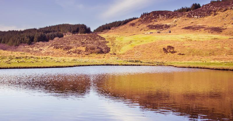 Mountain reflection on water - Isle of Skye, landscape of Scotland royalty free stock images