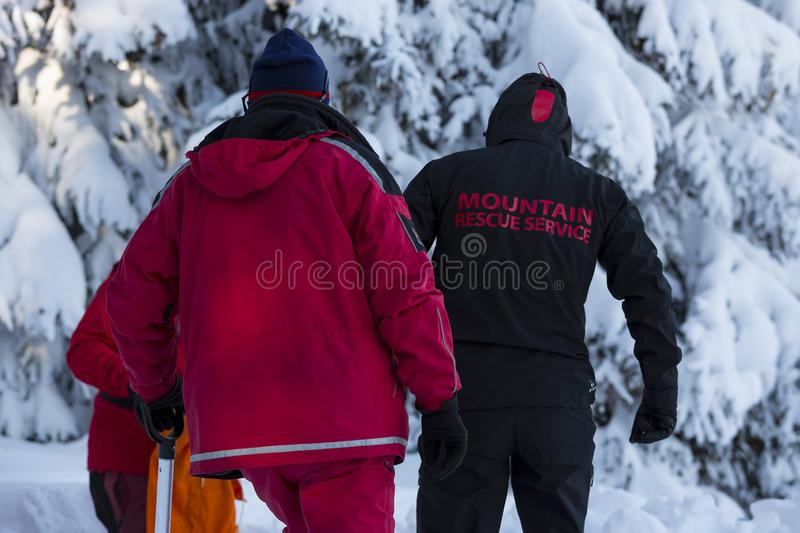 Mountain rescue service volunteers. Volunteers from Mountain rescue service participate in a training for finding people buried in an avalanche. Photographed stock image