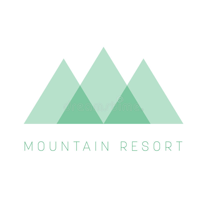 Mountain Resort logo template. Green triangle shape logotype for business or travel company. Vector illustration stock illustration