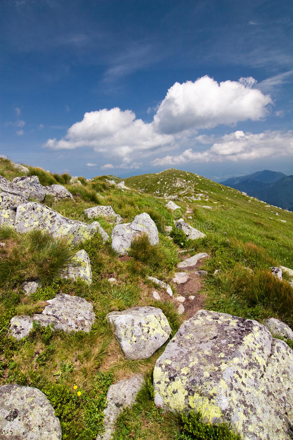 Download Mountain Ridge And Blue Sky With Clouds Stock Photo - Image: 20514470