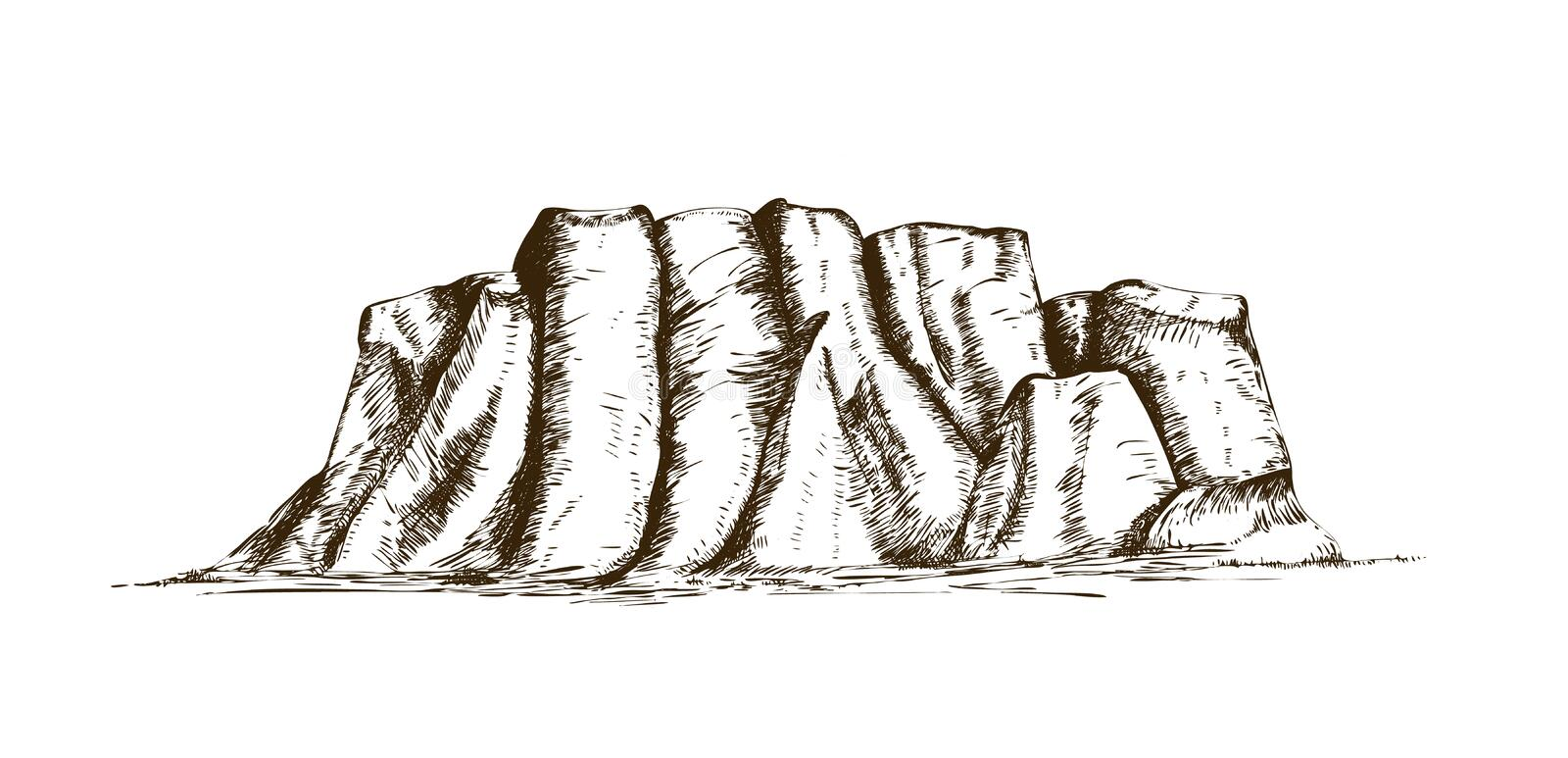 Mountain ridge or natural landmark hand drawn in vintage engraving style. Beautiful retro drawing of rock cliff, plateau stock illustration