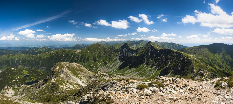 Mountain ridge panorama stock images