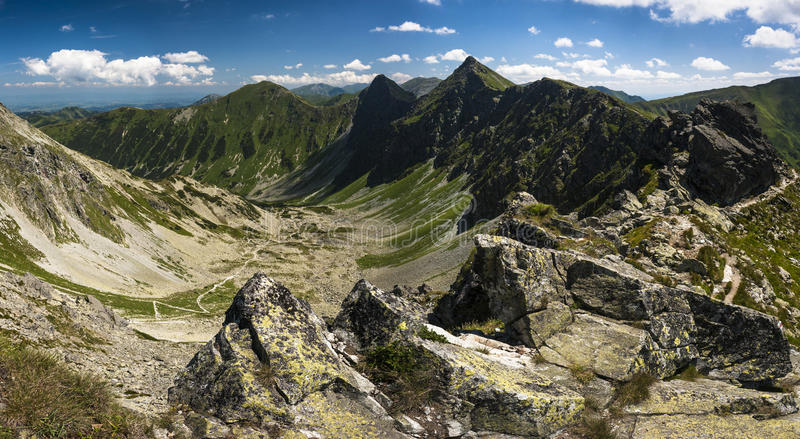 Mountain ridge panorama stock photos