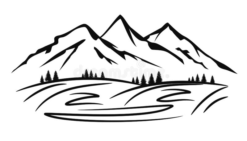 Mountain ridge silhouette with many peaks and trees - vector vector illustration