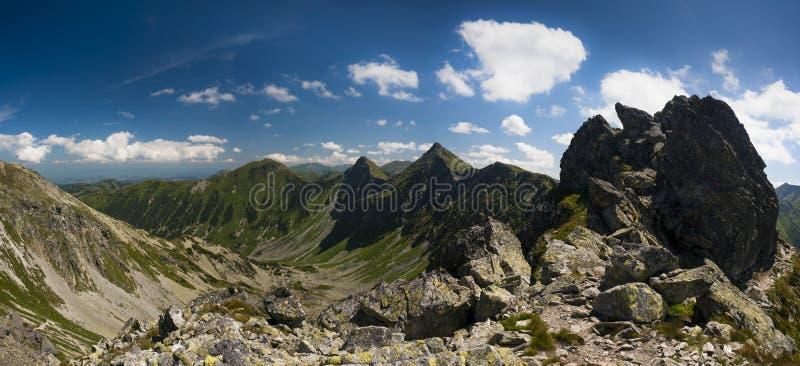 Mountain ridge in summer panorama stock image