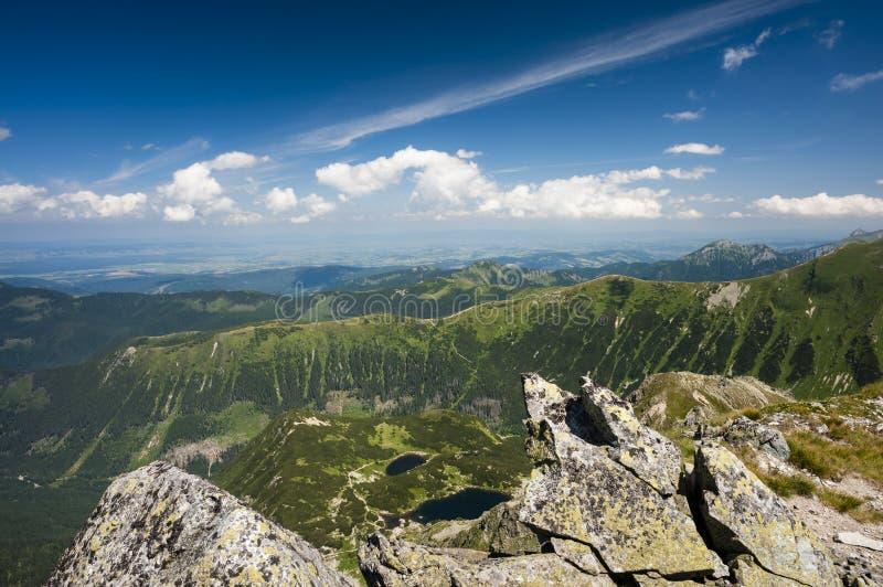Mountain ridge in summer tarn royalty free stock image