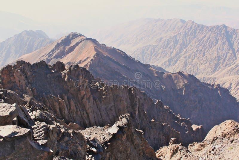 Mountain ridges in Morocco. Trekking on Toubkal. stock photos