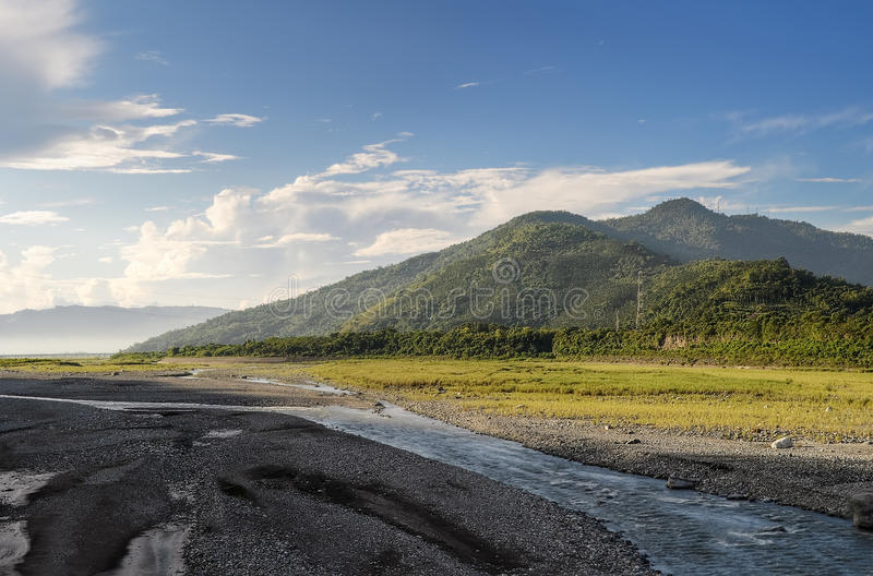 Mountain with river stock photography