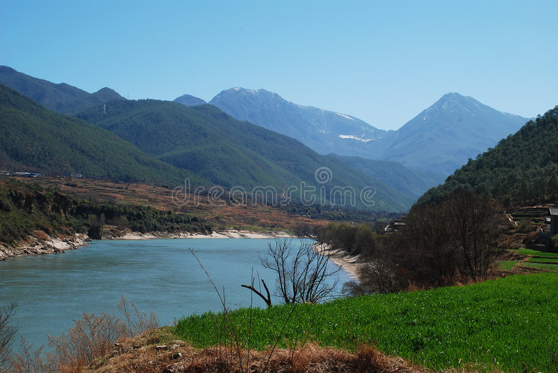 Mountain and river. It is very beautiful in yunnan lijiang.This is Yangtze River royalty free stock image