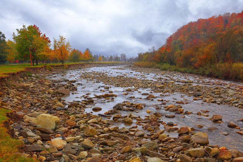 Mountain river in autumn time royalty free stock photo