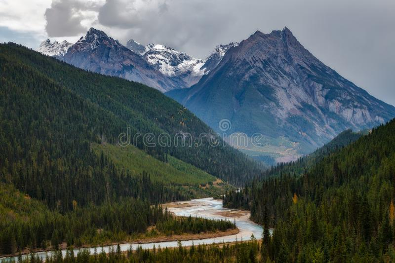 A mountain and river in the Canadian Rockies at sunset stock photos
