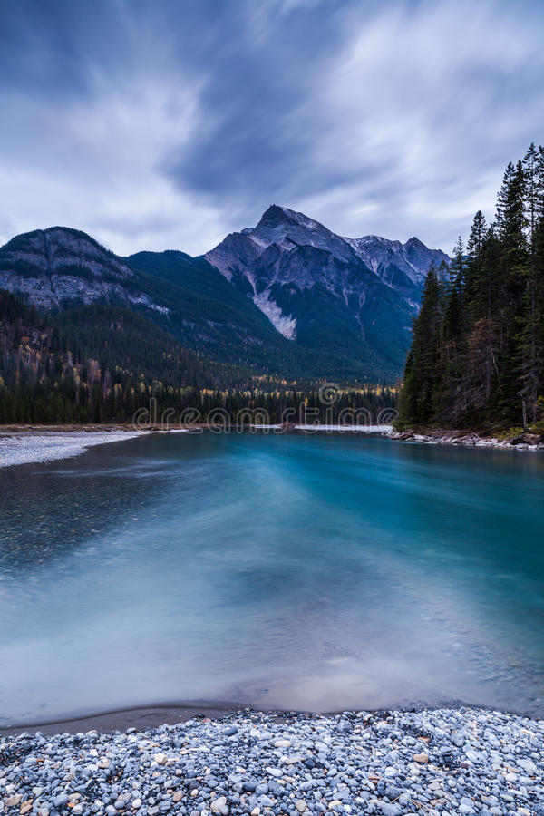 Mountain River in the Canadian Rocky Mountains, British Columbia stock photos