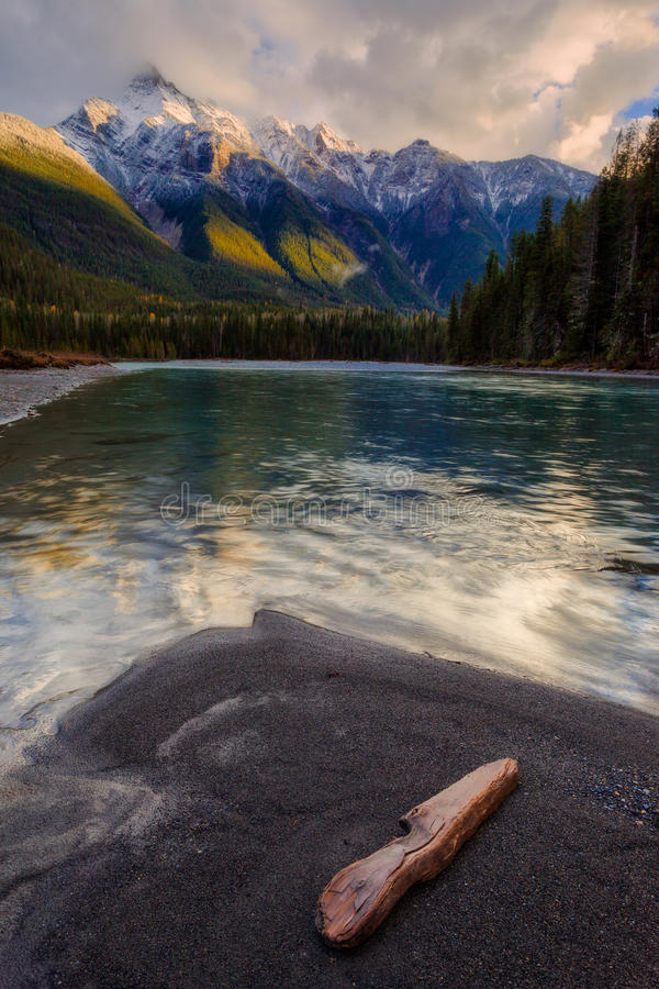Mountain River in the Canadian Rocky Mountains, British Columbia stock images