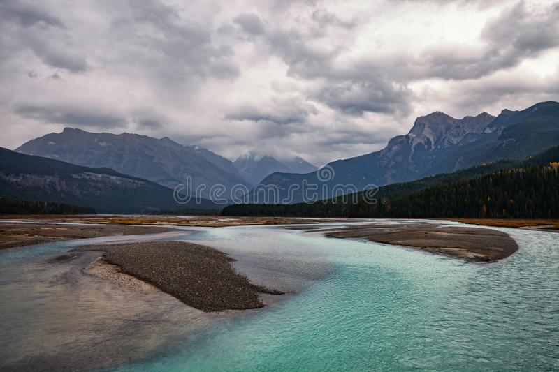 Mountain River in the Canadian Rocky Mountains, British Columbia stock image