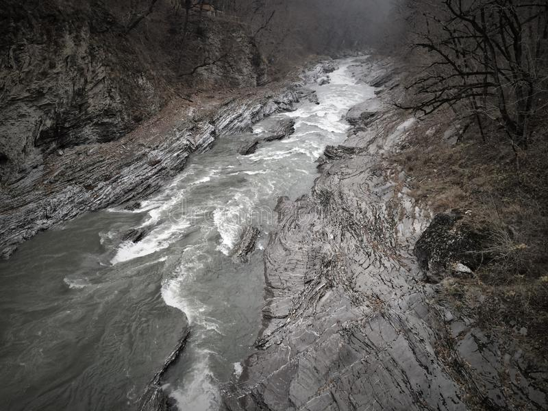 Mountain river in canyon royalty free stock photography