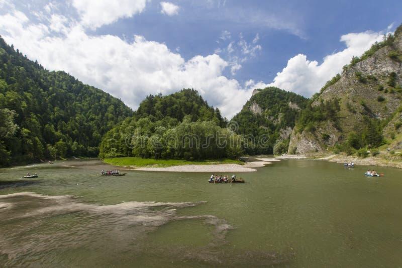 Mountain river. Dunajec River in Pieniny Mountains, at the Polish-Slovakian border stock photos