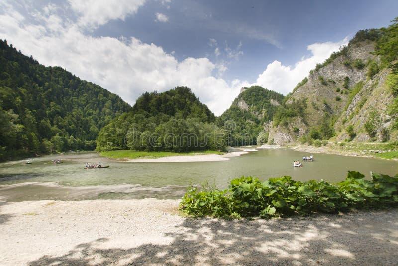 Mountain river. Dunajec River in Pieniny Mountains, at the Polish-Slovakian border stock images